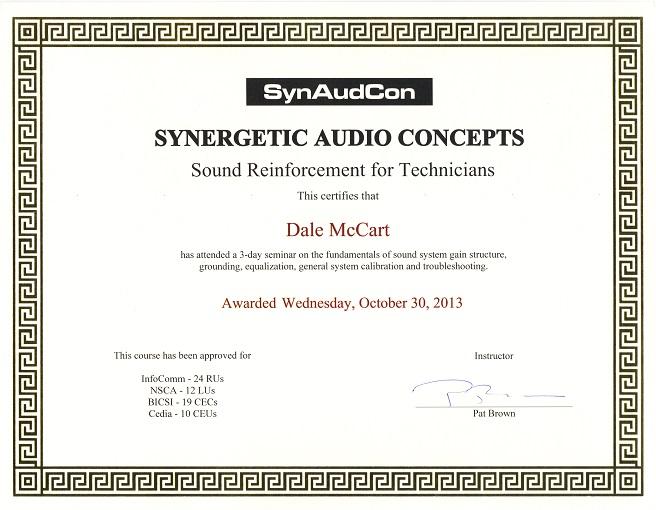 Mccart Sound Associates Dale S Live Sound Engineering